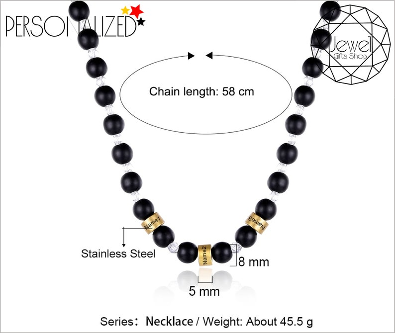 Pendant Handmade Gift Engraved Beads Chain Necklaces Personalized Name Necklaces USA Express Beads Custom Names Chain Christmas Gifts