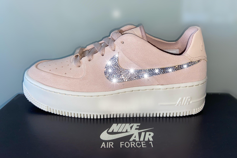 Nike Air Force 1 Sage low rose beige pink rhinestone Swarovski | Etsy