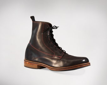 ARPEJ of cobblestones - BOOTS, lace-up leather ankle boots, leather sole, customizable, artisanal, handmade in France
