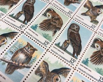 American Owls . UNUSED . 20 Vintage Postage Stamps . 15cent stamps . #1760+ setenant set