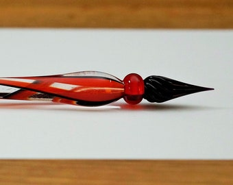 Glass Quill Spiral, red, with black nib