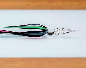 Glass Quill Spiral, green/blue/violett