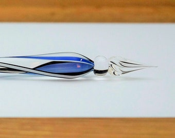 Glass Quill Spiral, blue/white