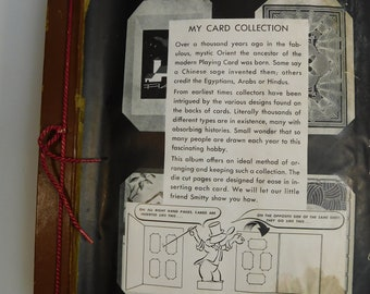 1940's Mid Century My Playing Card Scrapbook Album w/ 81 Vintage Cards Animals People