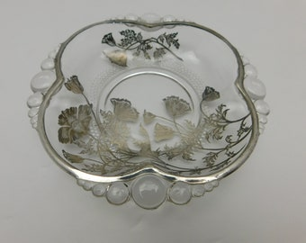 Silver City Glass Co with Applied Silver Poppies Relish Dresser Vanity Dish