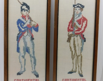 TWO Vintage Continental Armies 1776 Cross Stitch Mid Century Modern Framed