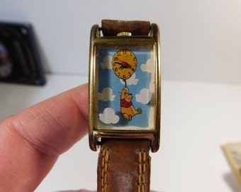 Disney's Winnie The Pooh Vintage Timex Watch with Original Brown Leather Band
