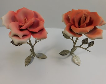 2 Vintage Napoleon Capodimonte Pink Roses w/ Silver Plate Stems Italy Artistic Castings