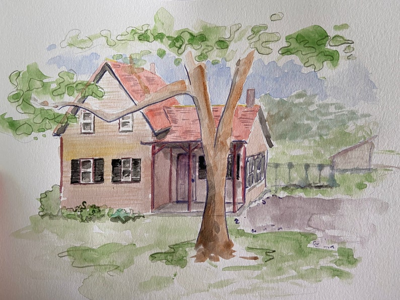 Custom Hand Painted Home Portrait Custom House Painting From image 0