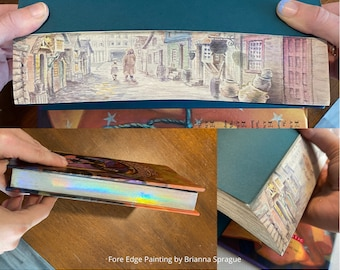 Harry Potter Book, Fore Edge Painting, Vanishing Painting, gift for book lovers, Harry Potter gift, unique gift, gold edge, holographic edge