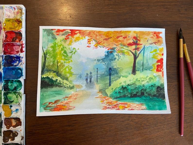 Autumn Trail Watercolor Print image 0