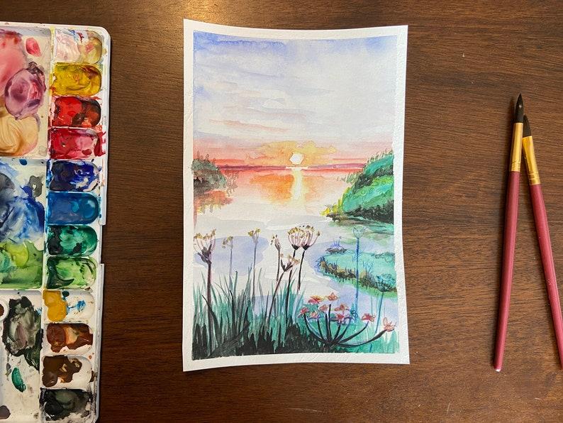 Sunset Waterside Watercolor Print image 0