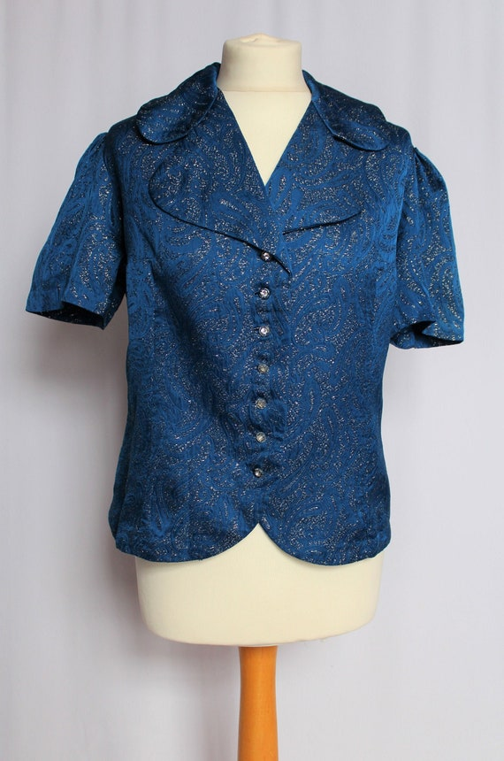 Vintage 50's/60's Royal Blue with Silver Lurex Blo