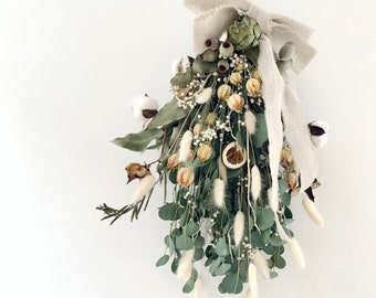 cottage chic! Large ocean inspired dried floral swag Seaside blue island eucalyptus wall swag Beach