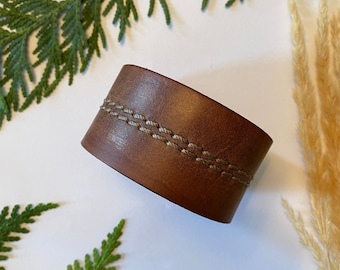 - Double Wrap antique brass snap Upcycled Leather ShawlCowl Cuff from Knox Mountain Knit Co punched brown leather