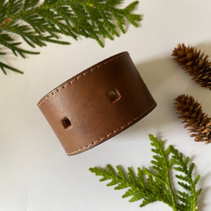 punched brown - Original antique brass snap Upcycled Leather ShawlCowl Cuff from Knox Mountain Knit Co