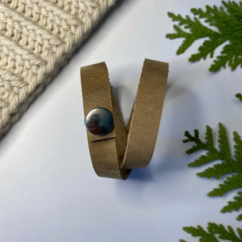 sand beige - Double Wrap 16  40.5cm Leather ShawlCowl Cuff from Knox Mountain Knit Co nickel