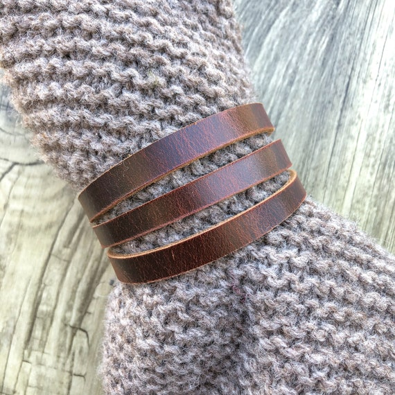 upcycled brown flower on dark charcoal leather - Original antique copper snap Leather ShawlCowl Cuff from Knox Mountain Knit Co