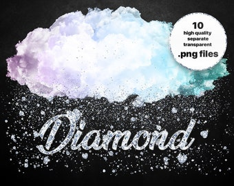 Halo cloud with diamonds / Pastel Cloud ClipArt / Diamond Clouds Clipart / Glitter Diamond / Weather Clipart / PNG Files / Wedding clipart