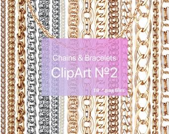 Chains & Bracelets ClipArt / Jewelry ClipArt / PNG / TIF