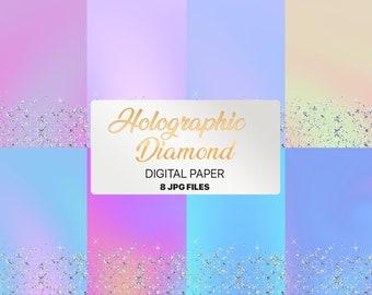 Holographic and Diamond digital paper \ rainbow gradient \ holo foil mermaid \ unicorn \ paper \ printable pattern \ background texture