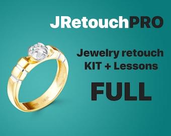 Jewelry retouching kit FULL (Video courses of jewelry retouching) /Jewelry Clipart/Shadow/Ring shank/Stud locks/Gems/Head/Size chart