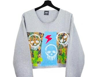 JDC (L) Vintage 00s Custom | Grey sweatshirt, crop top, long sleeves, neon paint, collage, text patch.
