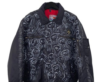 Polbot (M) Vintage 90s Customized Bomber jacket, coat, red interior, zipped pocket, hand painted acrylic.