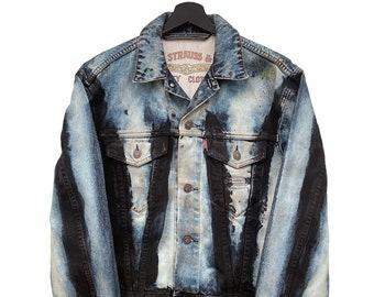Levis Strauss & Co. (S) Vintage 90's Custom | Vintage denim jacket, pocketless torera, metal buttons, hand-painted, corrosion.