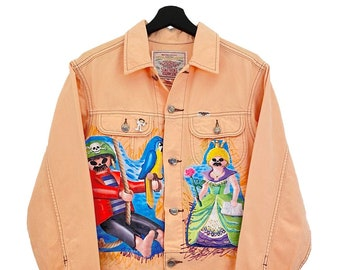 Something Edwin (M) Vintage 90s Custom | Plush denim jacket, soft touch, long sleeves, cirre buttons, text collage and paint.