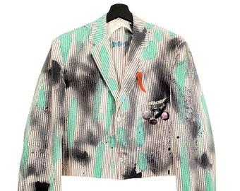 Kalafaker (L) Vintage 80s Custom | American, crop top, long sleeve, pocket, button closure, screen printing, textile patch, metal appliqués