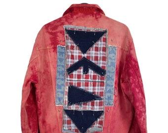 Charro (M) Vintage 90s Custom | Denim denim jacket, Kalafaker patches, hand painted, acid wash and red Tie Dye, cowgirl jacket.