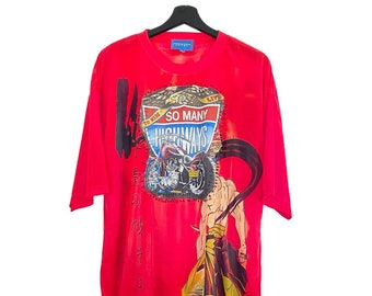 Engineered Manga (L) Vintage 90s Custom | T-shirt round neckline, short sleeves, sublimated, textile patch, metal appliqués.