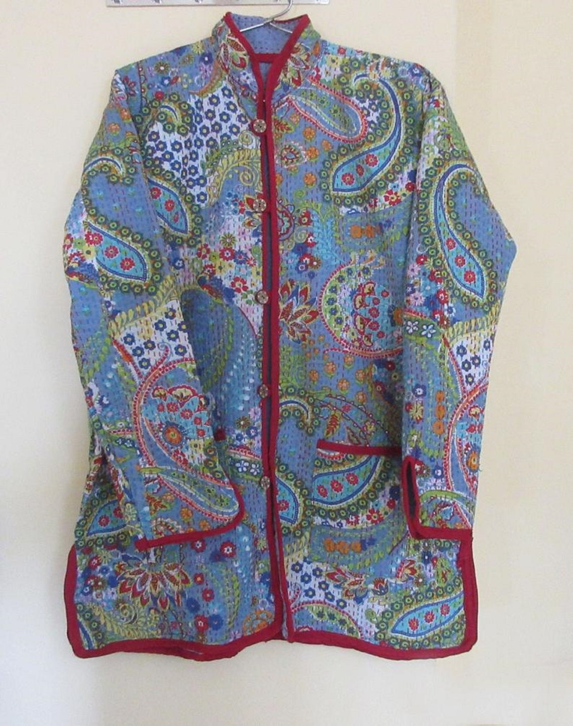 100% Cotton Paisley Print Indian Handmade Women Jacket Coat Throw Ethnic Kantha Work Girl's Turquoise Color With Full Sleeves
