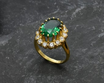 Princess Di Ring Emerald Ring Princess Diana Ring Solid Etsy