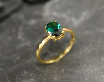 Green Ring 925 Silver Ring Green Vintage Ring Created Emerald Green Diamond Ring Solitaire Ring Cluster Ring Emerald Ring Emerald