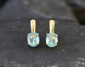 Gold Aquamarine Earrings, Created Aquamarine, Aquamarine Earrings, Gold Blue Earrings, Blue Diamond Studs, Blue Earrings, Vintage Earrings