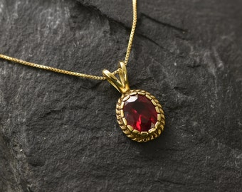 Gold Ruby Pendant, Created Ruby, Gold Vintage Pendant, Victorian Pendant, Red Ruby Pendant, Antique Pendant, Dainty Pendant, Gold Vermeil