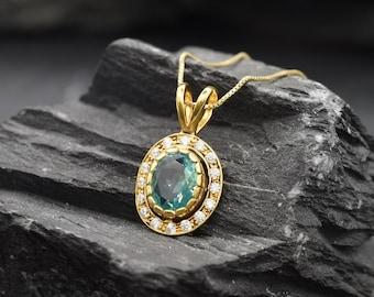 Aquamarine Pendant, Oval Pendant, Created Aquamarine, Blue Aquamarine, Blue Pendant, Halo Pendant, Gold Vermeil Pendant, Aquamarine Necklace