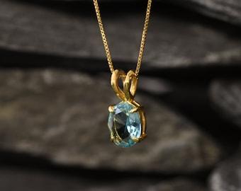 Gold Aqua Pendant, Blue Diamond Pendant, Created Aquamarine, Dainty Blue Pendant, Blue Oval Pendant, 18K Gold Vermeil Pendant, Aqua Necklace
