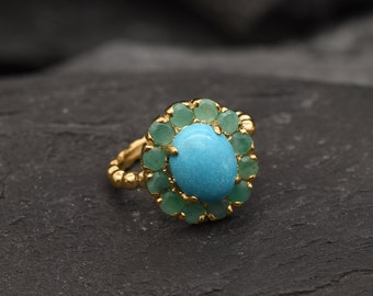 Gold Turquoise Ring, Victorian Ring, Natural Turquoise, Gold Flower Ring, Antique Ring, Turquoise Ring, 3 Carat Ring, Emerald Ring, Vermeil