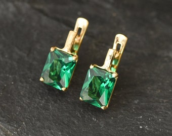 Gold Emerald Earrings, Gold Square Earrings, Created Emerald, Gold Emerald Studs, Emerald Cut Earrings, Gold Vermeil Earrings, 18K Gold Stud
