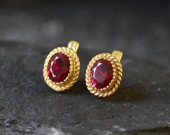 Gold Ruby Earrings, Created Ruby, Vintage Earrings, Gold Plated Earrings, Red Ruby Studs, Red Oval Earrings, 6 Carat Earrings, Gold Vermeil