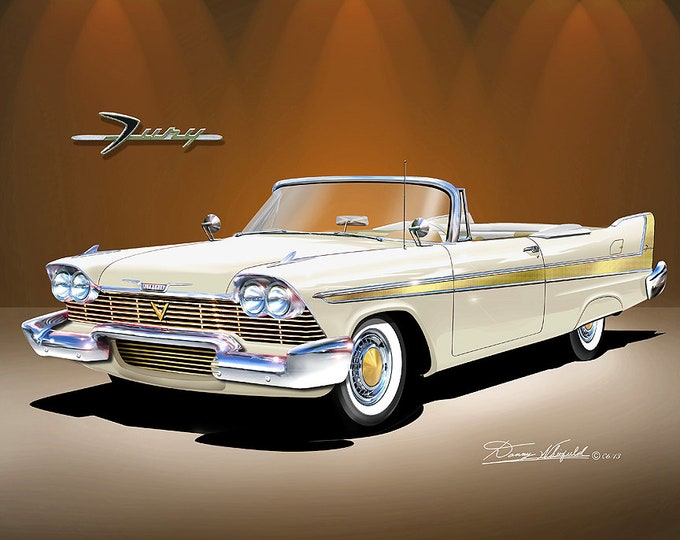 1958 Plymouth Fury Convertible art prints comes in 8 different exterior colors