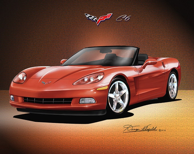 2005-2012 Corvette convertible art prints comes in 7 different exterior colors