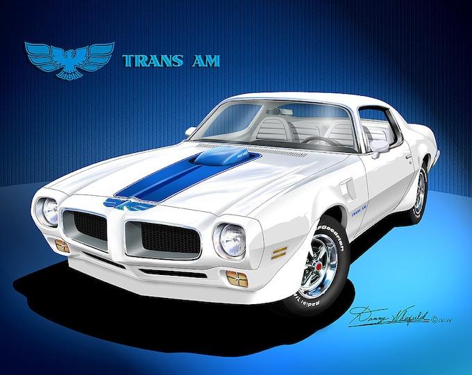 1972-1973 Pontiac Firebird Trans Am art prints comes in 6 different exterior color