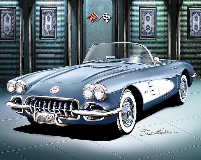 1960 Corvette convertible art prints comes in 10 different exterior colors
