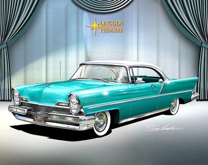 1957 Lincoln Premiere art prints comes in 5 different styles