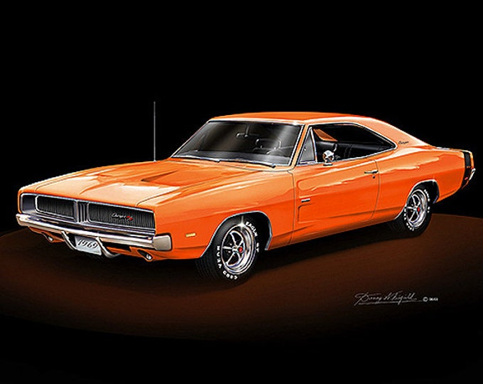 1969 Dodge Charger art prints comes in 10 different exterior colors