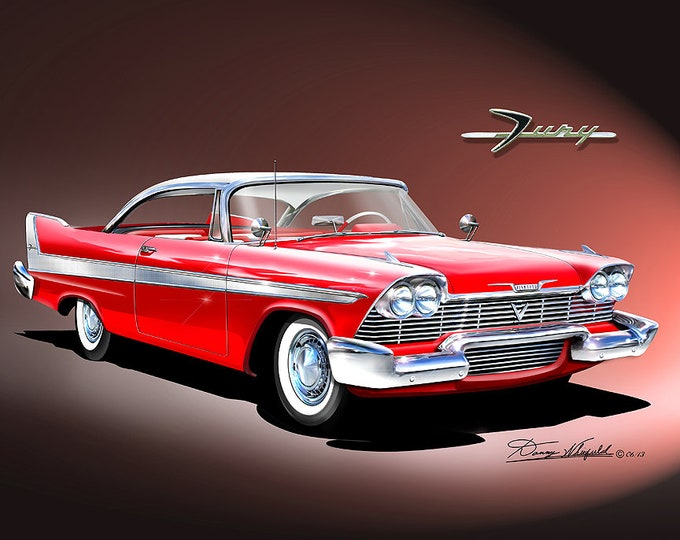 1958 Plymouth Fury art prints comes in 8 different exterior colors